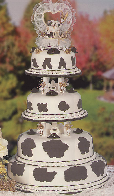 Cow Wedding Cake - 4 tier animal wedding cake